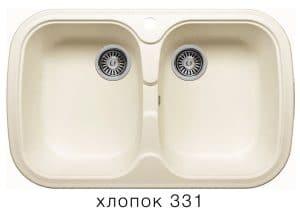 Кухонная мойка POLYGRAN F-150 из искусственного камня 80х51см с двумя чашами 7000 рублей, фото 2 | интернет-магазин Складно