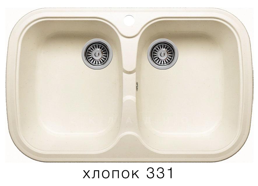 Кухонная мойка POLYGRAN F-150 из искусственного камня 80х51см с двумя чашами фото 2 | интернет-магазин Складно