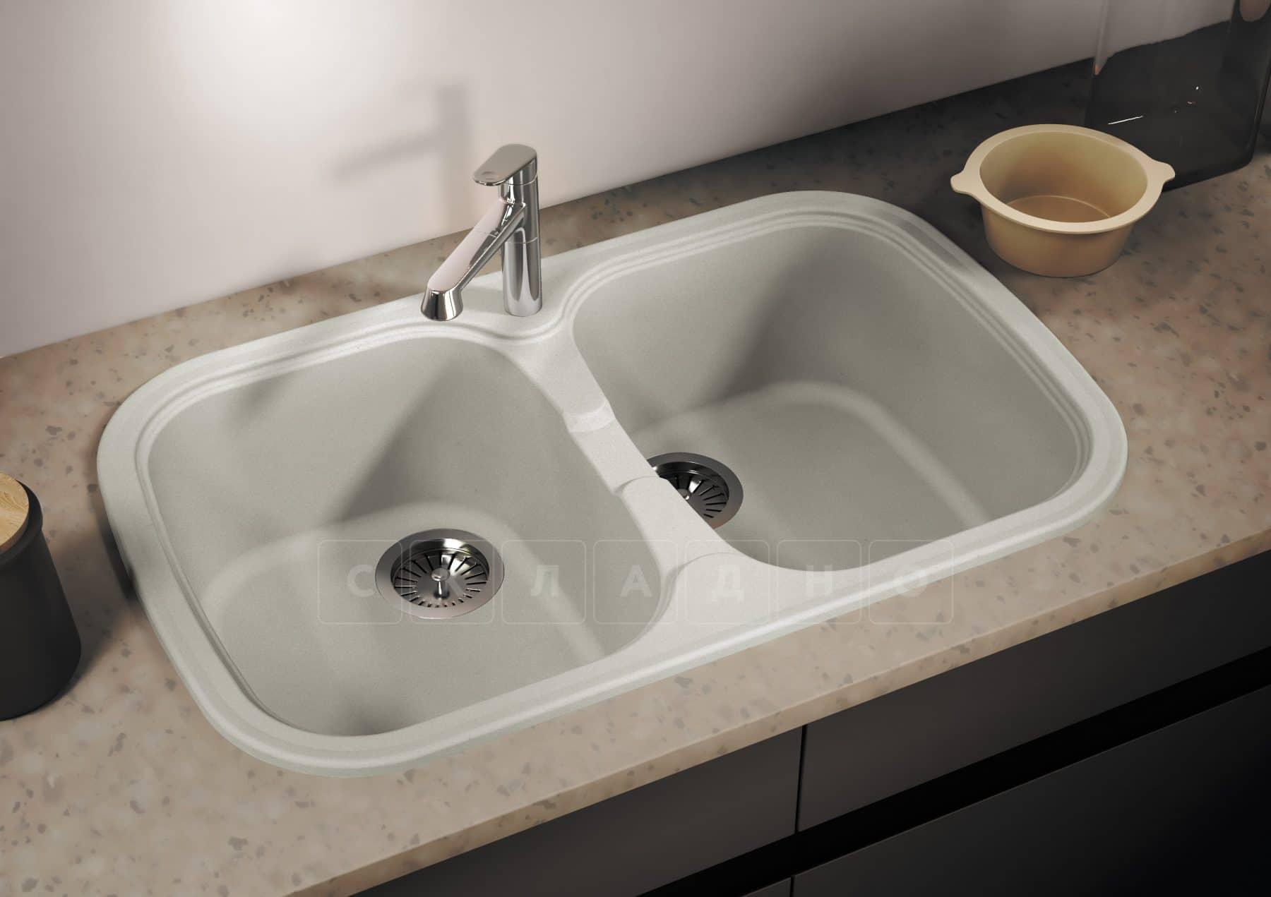 Кухонная мойка POLYGRAN F-150 из искусственного камня 80х51см с двумя чашами фото 10 | интернет-магазин Складно