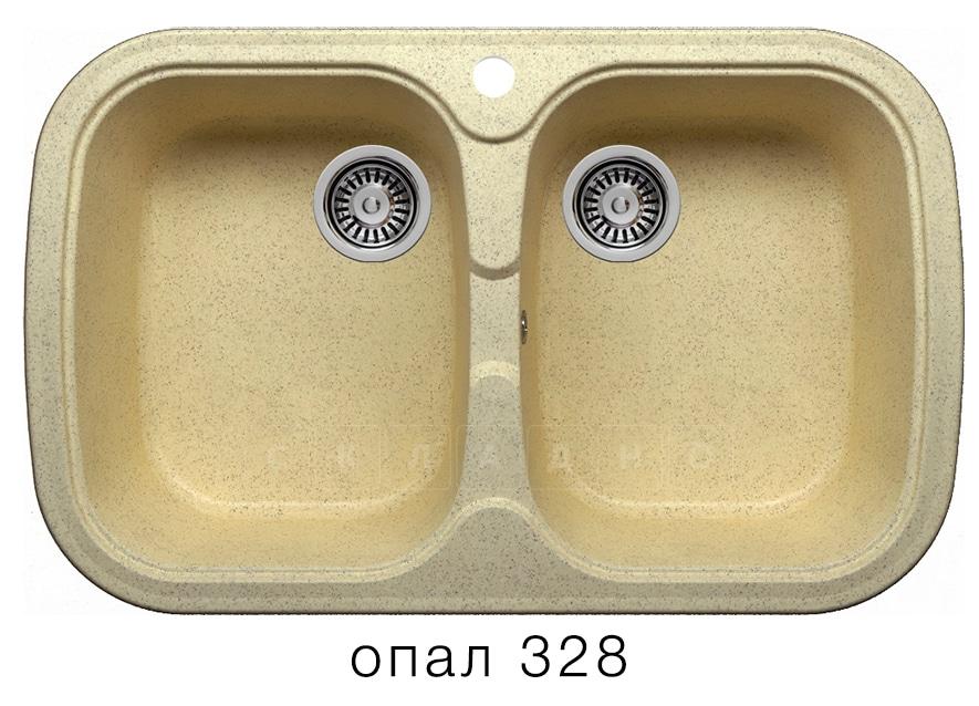 Кухонная мойка POLYGRAN F-150 из искусственного камня 80х51см с двумя чашами фото 3 | интернет-магазин Складно