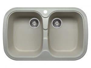 Кухонная мойка POLYGRAN F-150 из искусственного камня 80х51см с двумя чашами 7000 рублей, фото 7 | интернет-магазин Складно