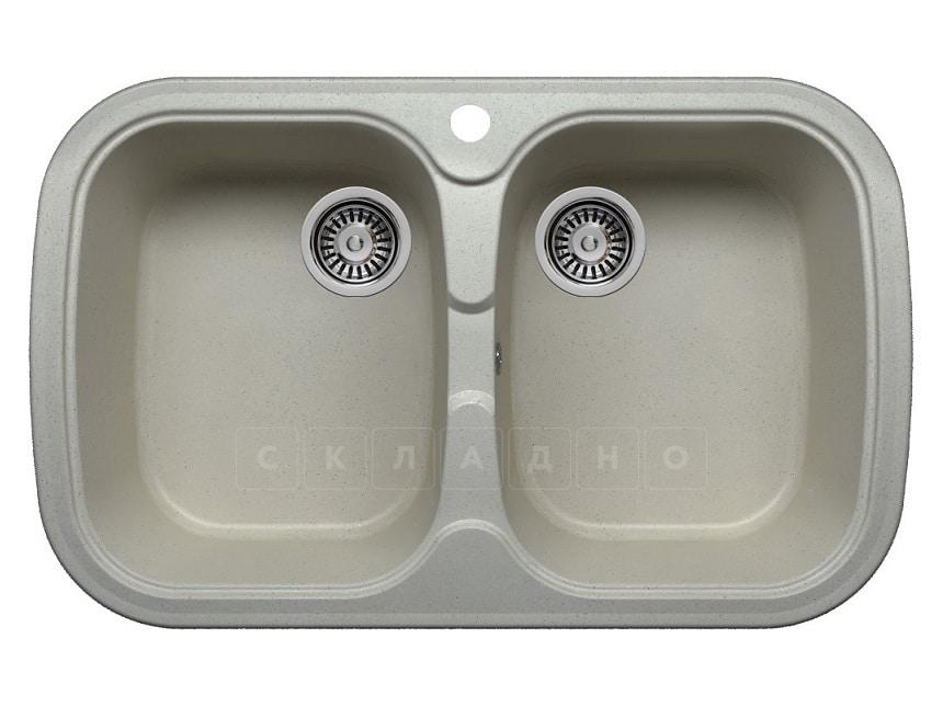 Кухонная мойка POLYGRAN F-150 из искусственного камня 80х51см с двумя чашами фото 7 | интернет-магазин Складно