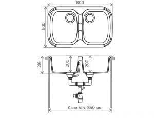 Кухонная мойка POLYGRAN F-150 из искусственного камня 80х51см с двумя чашами 7000 рублей, фото 9 | интернет-магазин Складно