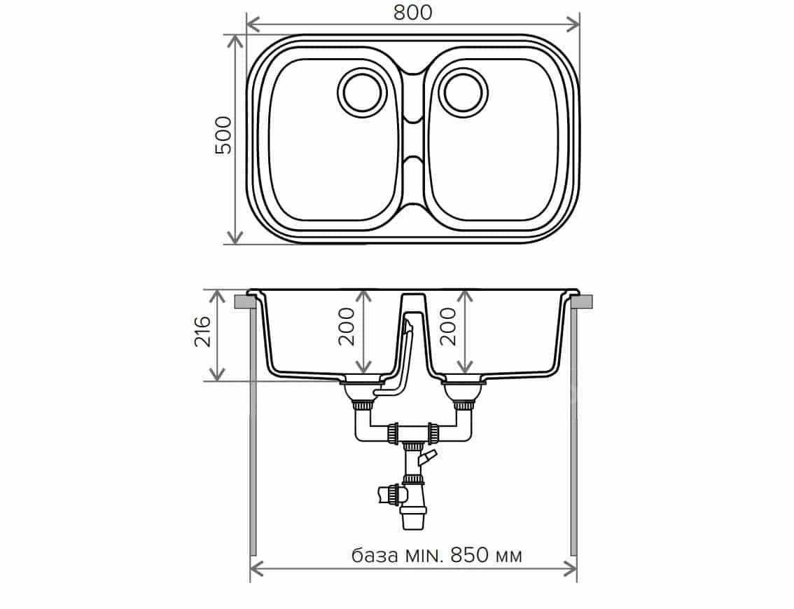 Кухонная мойка POLYGRAN F-150 из искусственного камня 80х51см с двумя чашами фото 9 | интернет-магазин Складно