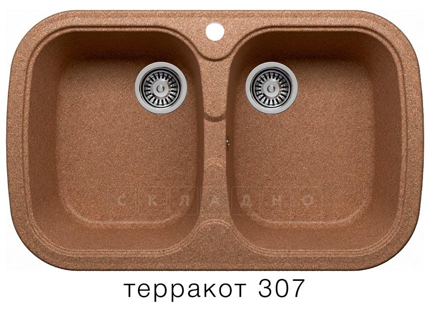 Кухонная мойка POLYGRAN F-150 из искусственного камня 80х51см с двумя чашами фото 8 | интернет-магазин Складно