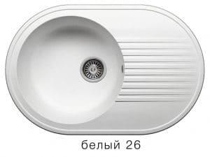 Кухонная мойка POLYGRAN F-16 из искусственного камня 76х50 см овальная 5600 рублей, фото 5 | интернет-магазин Складно
