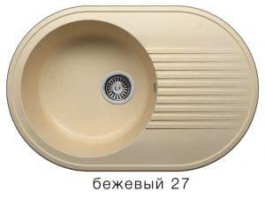 Кухонная мойка POLYGRAN F-16 из искусственного камня 76х50 см овальная 5600 рублей, фото 4 | интернет-магазин Складно