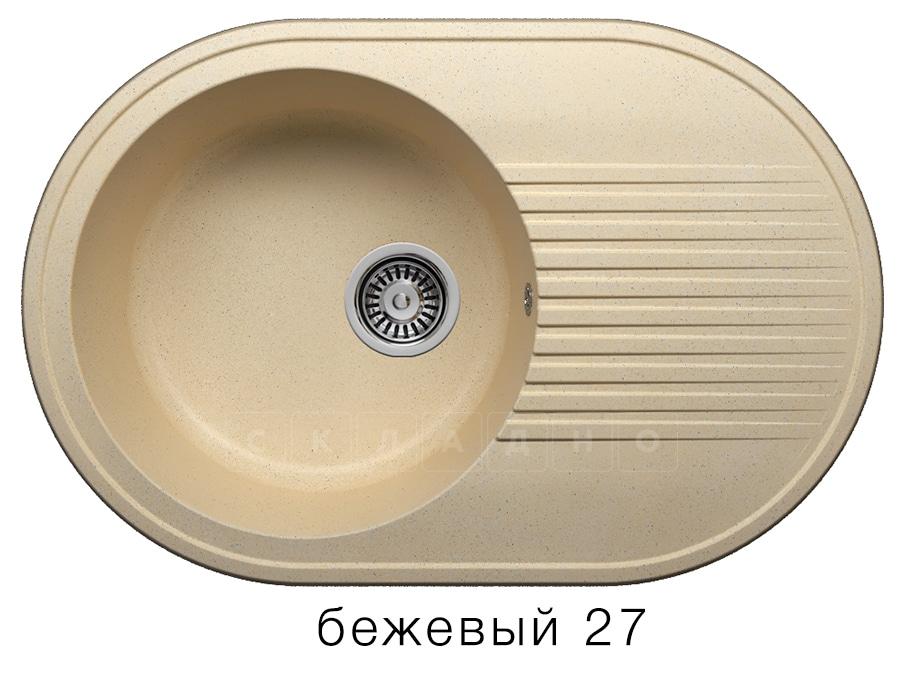 Кухонная мойка POLYGRAN F-16 из искусственного камня 76х50 см овальная фото 4 | интернет-магазин Складно