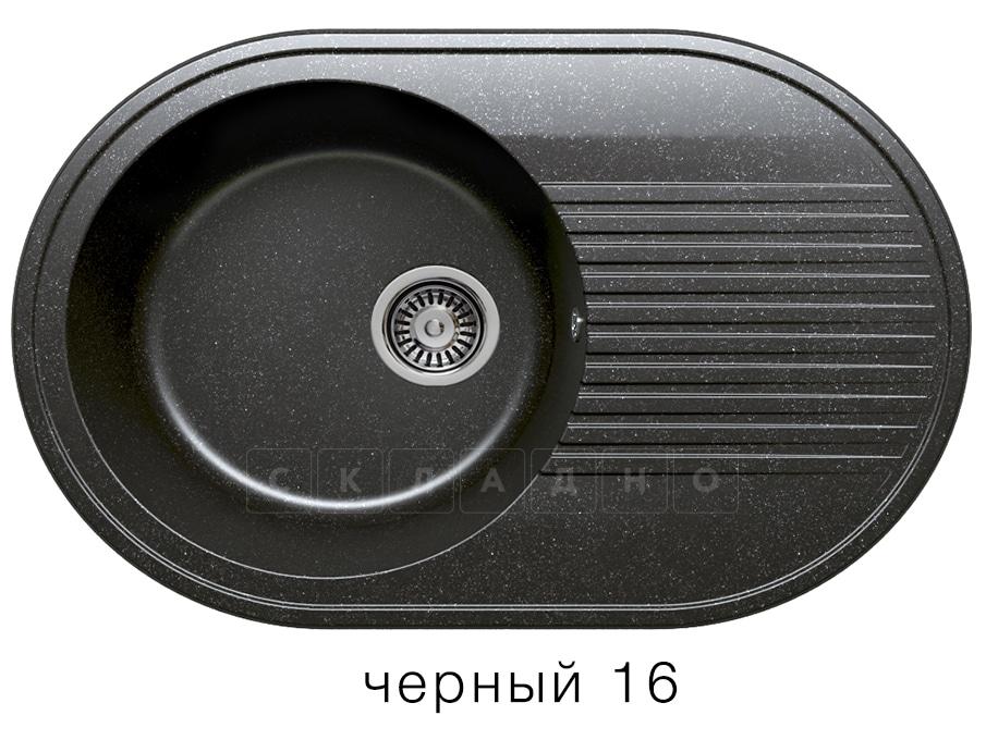 Кухонная мойка POLYGRAN F-16 из искусственного камня 76х50 см овальная фото 6 | интернет-магазин Складно