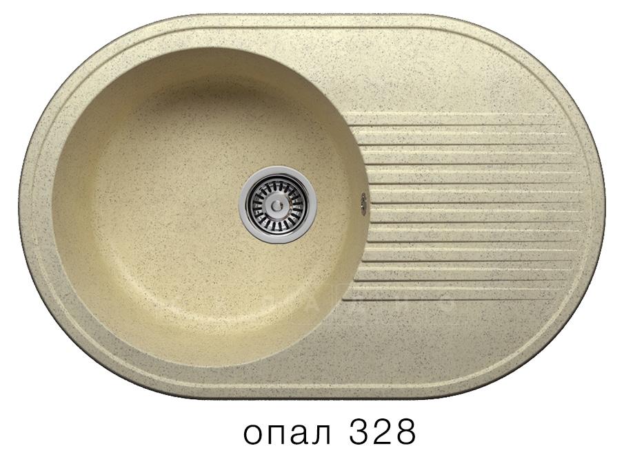 Кухонная мойка POLYGRAN F-16 из искусственного камня 76х50 см овальная фото 3 | интернет-магазин Складно