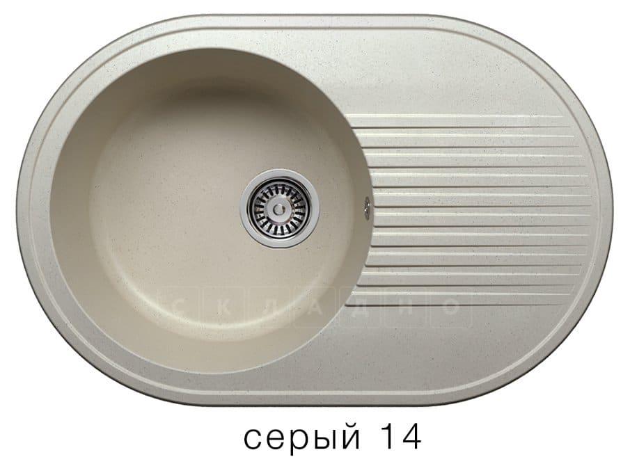Кухонная мойка POLYGRAN F-16 из искусственного камня 76х50 см овальная фото 7 | интернет-магазин Складно