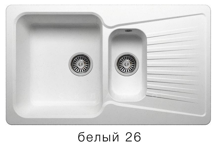 Кухонная мойка POLYGRAN F-18 из искусственного камня 85х50см с двумя чашами фото 5 | интернет-магазин Складно
