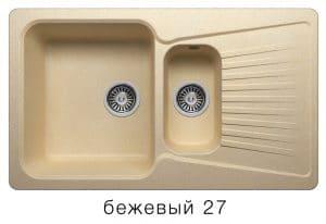 Кухонная мойка POLYGRAN F-18 из искусственного камня 85х50см с двумя чашами 7600 рублей, фото 4 | интернет-магазин Складно