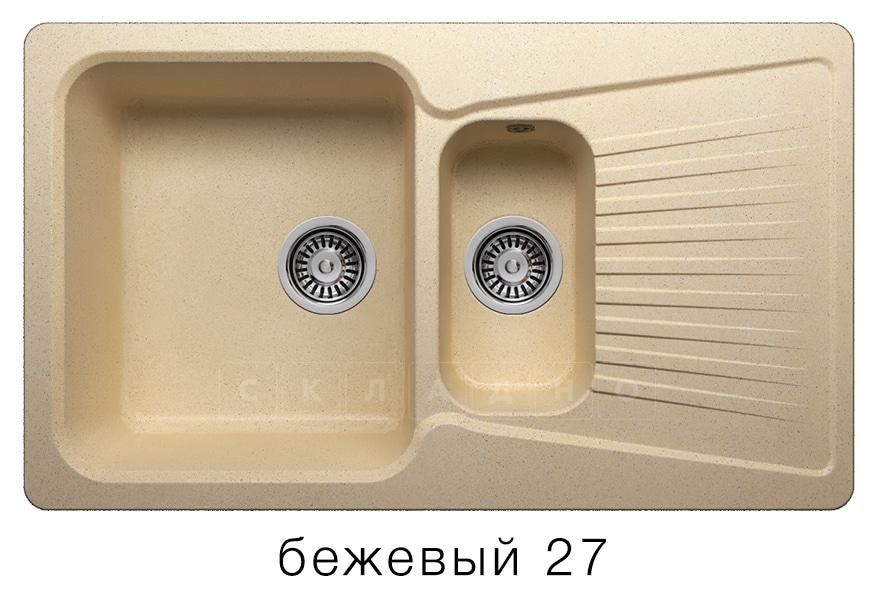 Кухонная мойка POLYGRAN F-18 из искусственного камня 85х50см с двумя чашами фото 4 | интернет-магазин Складно