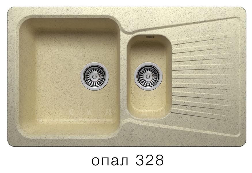 Кухонная мойка POLYGRAN F-18 из искусственного камня 85х50см с двумя чашами фото 3 | интернет-магазин Складно