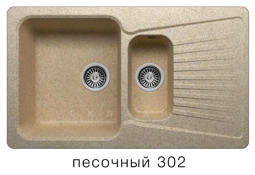 Кухонная мойка POLYGRAN F-18 из искусственного камня 85х50см с двумя чашами фото 1 | интернет-магазин Складно