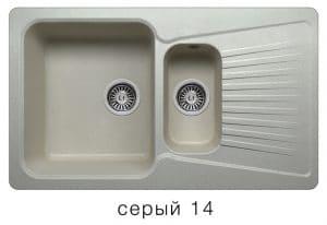 Кухонная мойка POLYGRAN F-18 из искусственного камня 85х50см с двумя чашами 7600 рублей, фото 7 | интернет-магазин Складно