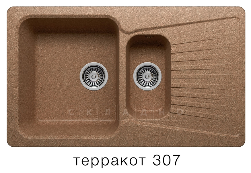 Кухонная мойка POLYGRAN F-18 из искусственного камня 85х50см с двумя чашами фото 8 | интернет-магазин Складно