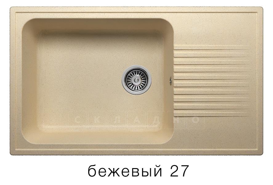 Кухонная мойка POLYGRAN F-19 из искусственного камня 85х50 см с широкой чашей фото 4 | интернет-магазин Складно