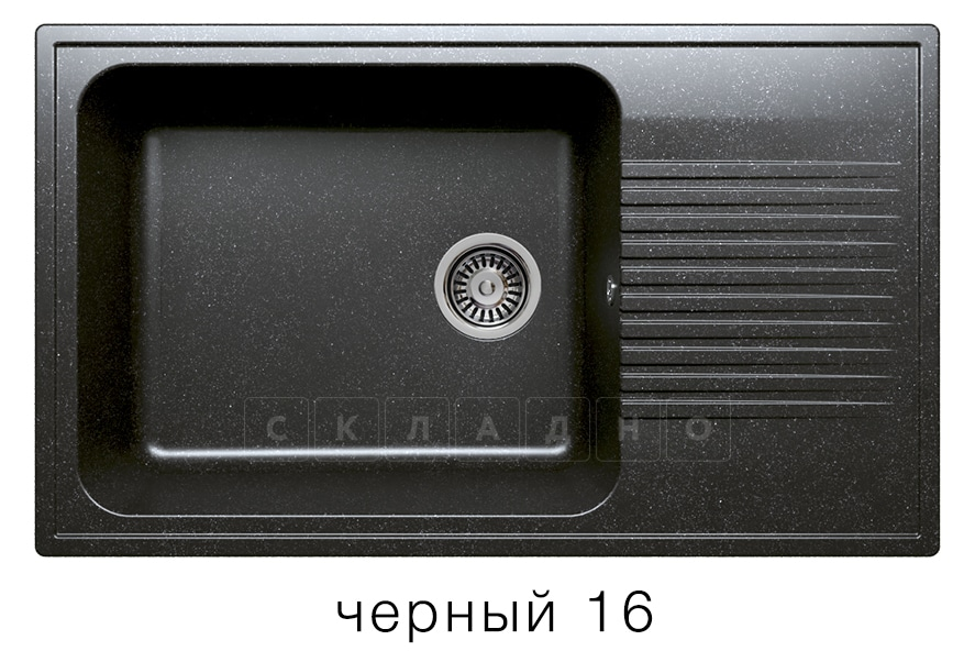 Кухонная мойка POLYGRAN F-19 из искусственного камня 85х50 см с широкой чашей фото 6 | интернет-магазин Складно