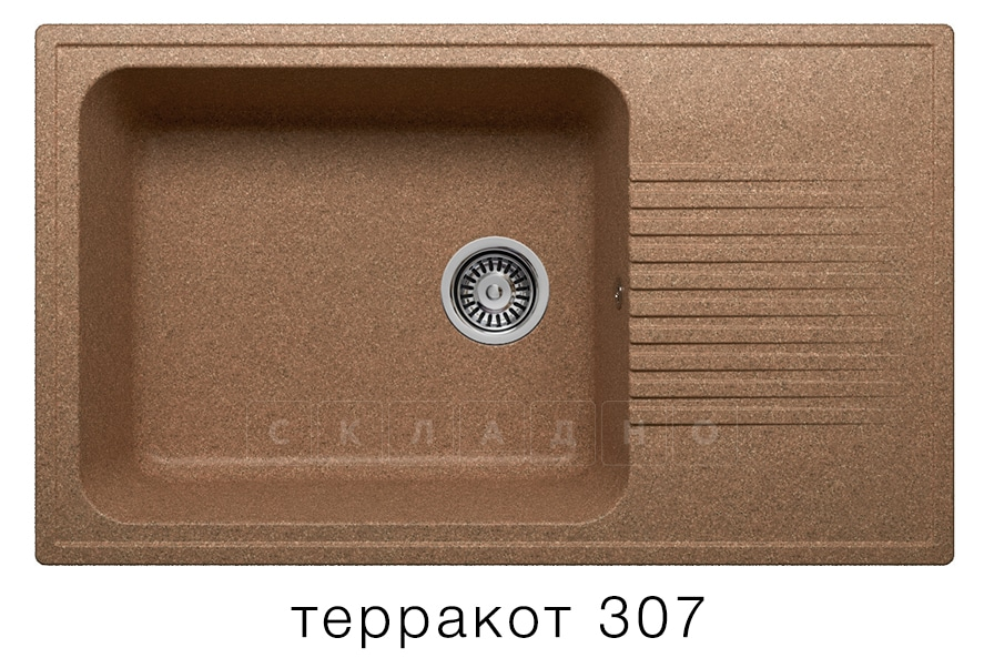 Кухонная мойка POLYGRAN F-19 из искусственного камня 85х50 см с широкой чашей фото 8 | интернет-магазин Складно