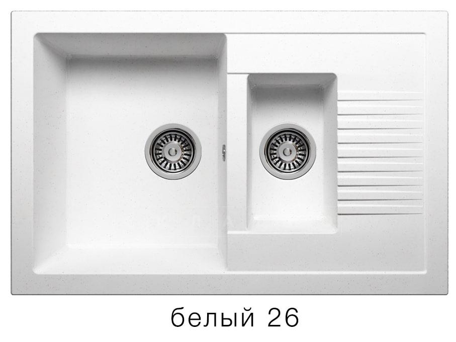 Кухонная мойка POLYGRAN F-21 из искусственного камня 77х49 см с двумя чашами фото 5   интернет-магазин Складно
