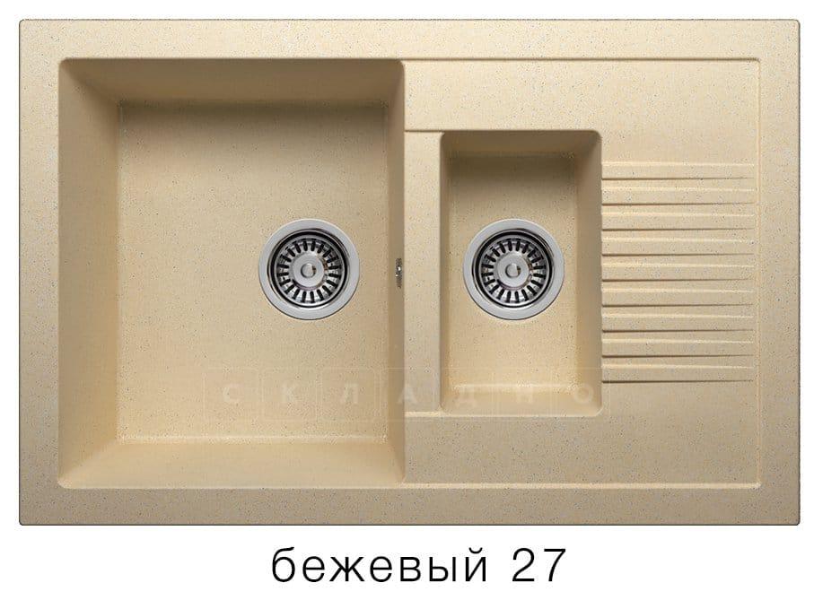 Кухонная мойка POLYGRAN F-21 из искусственного камня 77х49 см с двумя чашами фото 4   интернет-магазин Складно