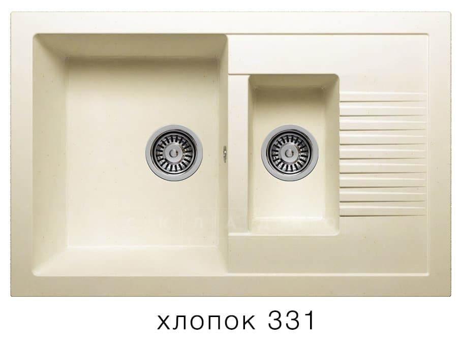 Кухонная мойка POLYGRAN F-21 из искусственного камня 77х49 см с двумя чашами фото 2   интернет-магазин Складно