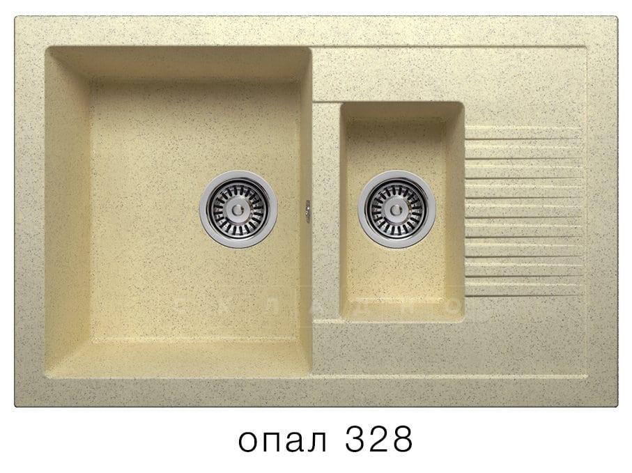 Кухонная мойка POLYGRAN F-21 из искусственного камня 77х49 см с двумя чашами фото 3   интернет-магазин Складно