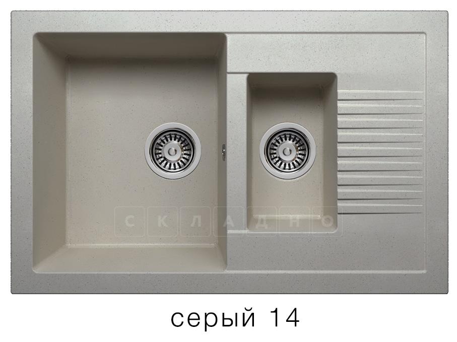 Кухонная мойка POLYGRAN F-21 из искусственного камня 77х49 см с двумя чашами фото 7   интернет-магазин Складно