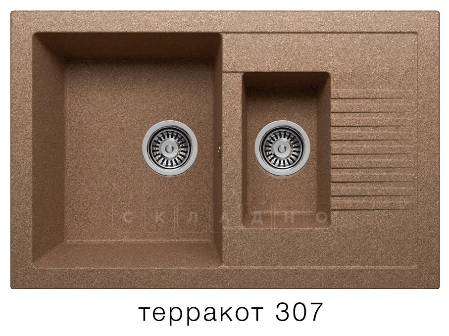 Кухонная мойка POLYGRAN F-21 из искусственного камня 77х49 см с двумя чашами фото 8   интернет-магазин Складно