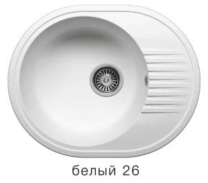 Кухонная мойка POLYGRAN F-22 из искусственного камня 58х46 см овальная 4900 рублей, фото 5 | интернет-магазин Складно