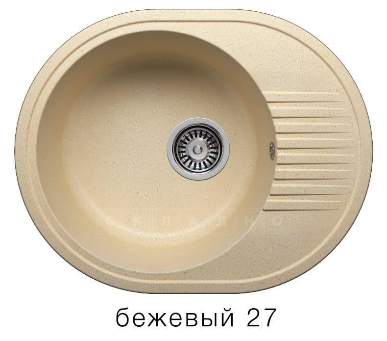 Кухонная мойка POLYGRAN F-22 из искусственного камня 58х46 см овальная фото 4 | интернет-магазин Складно
