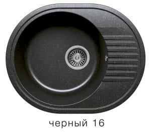 Кухонная мойка POLYGRAN F-22 из искусственного камня 58х46 см овальная 4900 рублей, фото 6 | интернет-магазин Складно