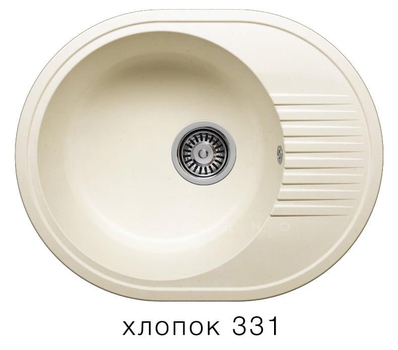 Кухонная мойка POLYGRAN F-22 из искусственного камня 58х46 см овальная фото 2 | интернет-магазин Складно