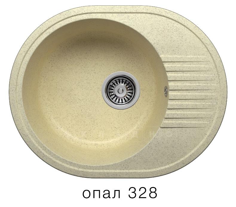 Кухонная мойка POLYGRAN F-22 из искусственного камня 58х46 см овальная фото 3 | интернет-магазин Складно