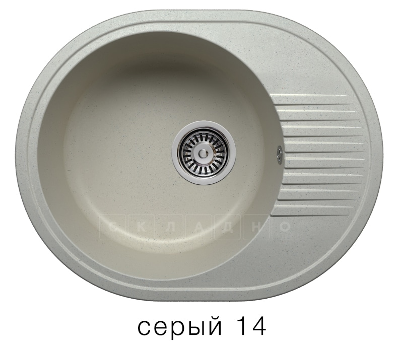 Кухонная мойка POLYGRAN F-22 из искусственного камня 58х46 см овальная фото 7 | интернет-магазин Складно