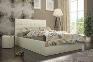 Кровать с подъемным механизмом Находка 140 см молочного цвета фото превью | интернет-магазин Складно