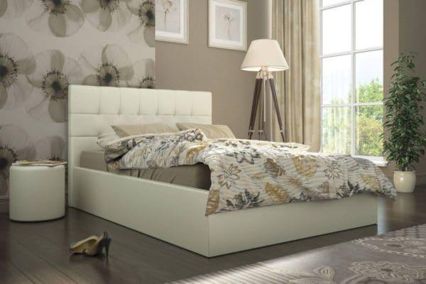 Кровать с подъемным механизмом Находка 140 см молочного цвета фото | интернет-магазин Складно