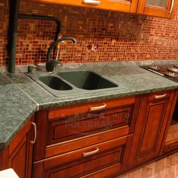 Кухонная мойка POLYGRAN F-09 из искусственного камня 61х50 см с двумя чашами фото 11 | интернет-магазин Складно