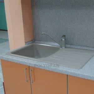 Кухонная мойка POLYGRAN F-12 из искусственного камня 85х50см 6200 рублей, фото 12 | интернет-магазин Складно