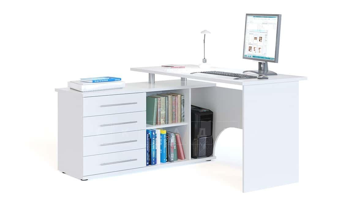 Компьютерный стол Сноу угловой белый фото 1 | интернет-магазин Складно