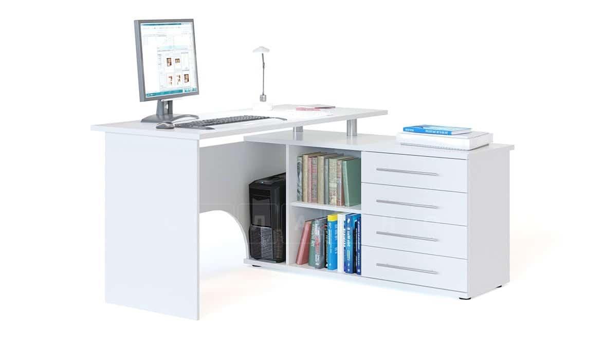 Компьютерный стол Сноу угловой белый фото 2 | интернет-магазин Складно