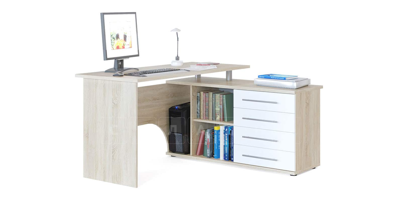 Компьютерный стол Сноу угловой дуб сонома фото 2 | интернет-магазин Складно