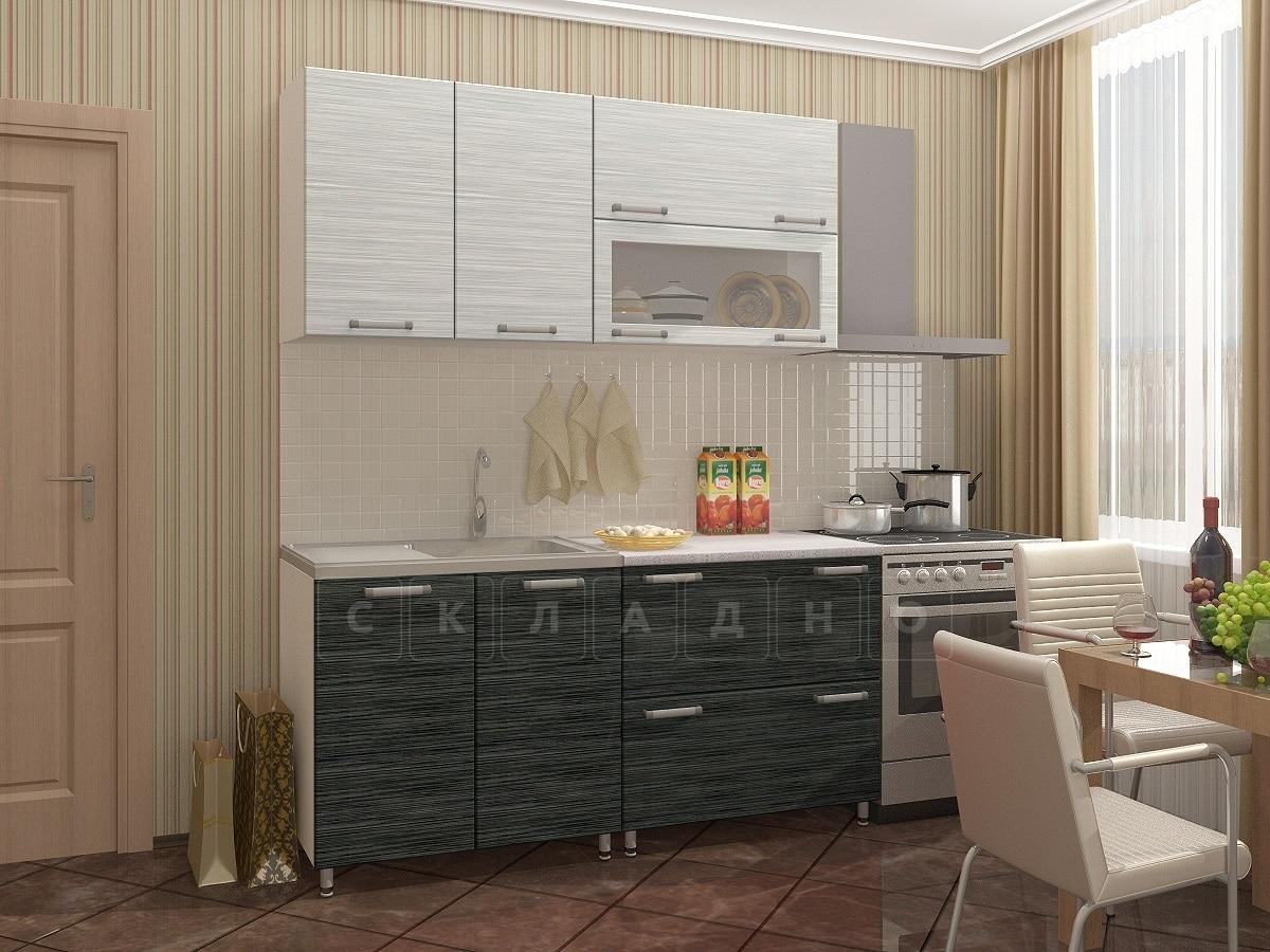 Кухонный гарнитур Техно черный титан с белым 1,6м фото 1 | интернет-магазин Складно