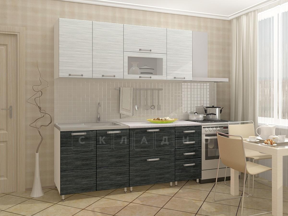 Кухонный гарнитур Техно черный титан с белым 1,8м фото 1 | интернет-магазин Складно