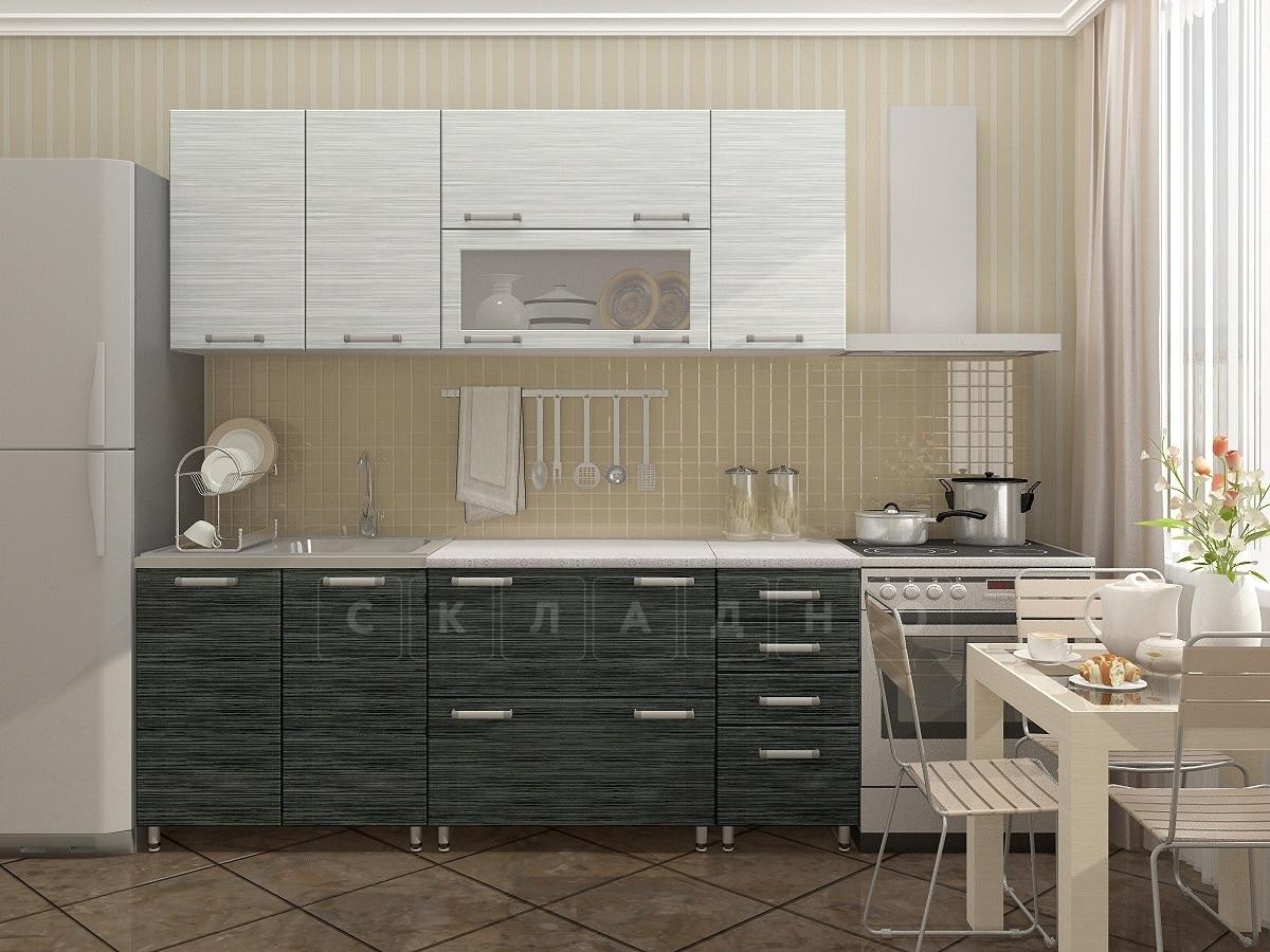 Кухонный гарнитур Техно черный титан с белым 2,0м фото 1 | интернет-магазин Складно