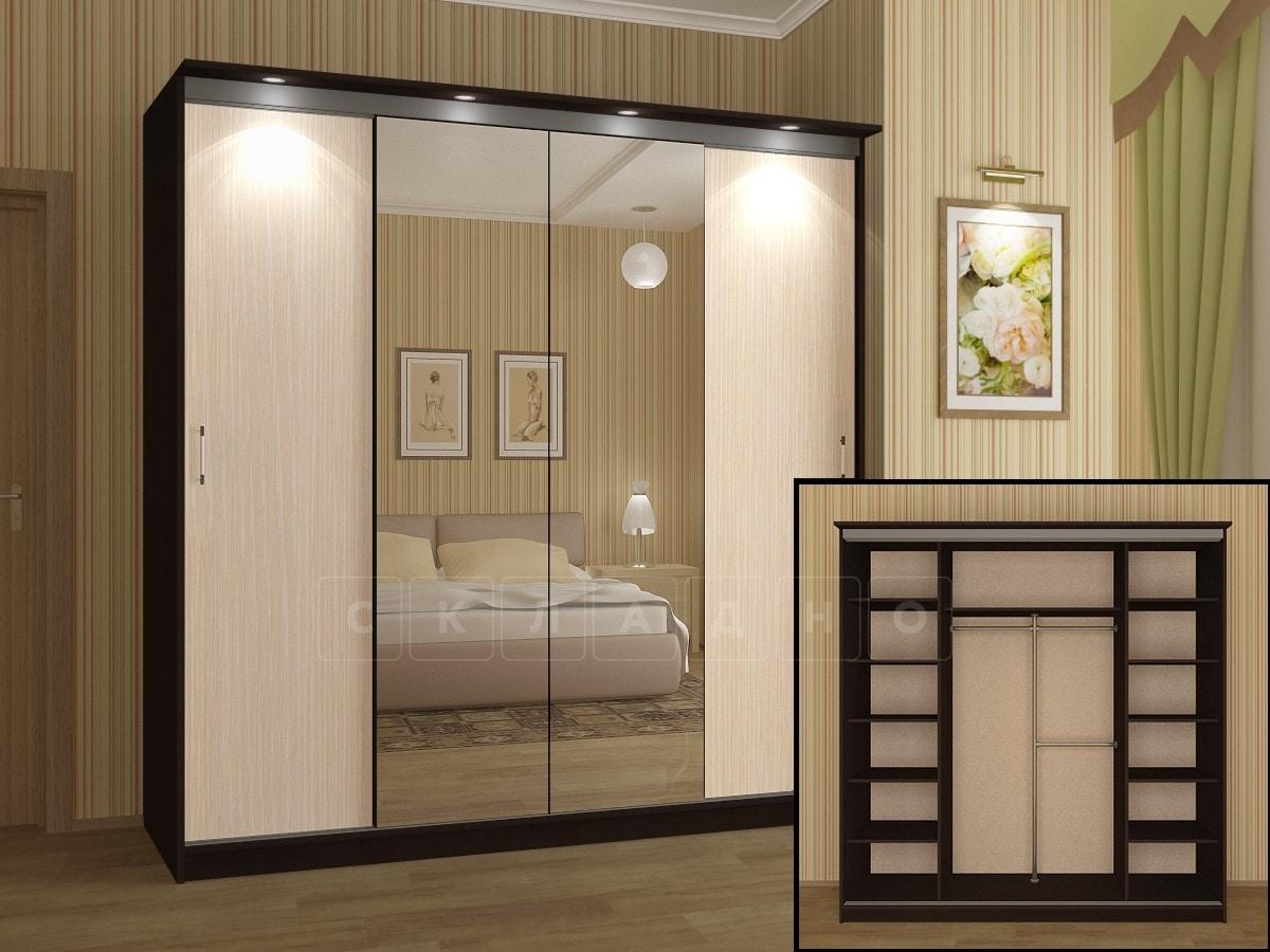 Шкаф-купе Альянс-3 с двумя зеркалами фото 2 | интернет-магазин Складно