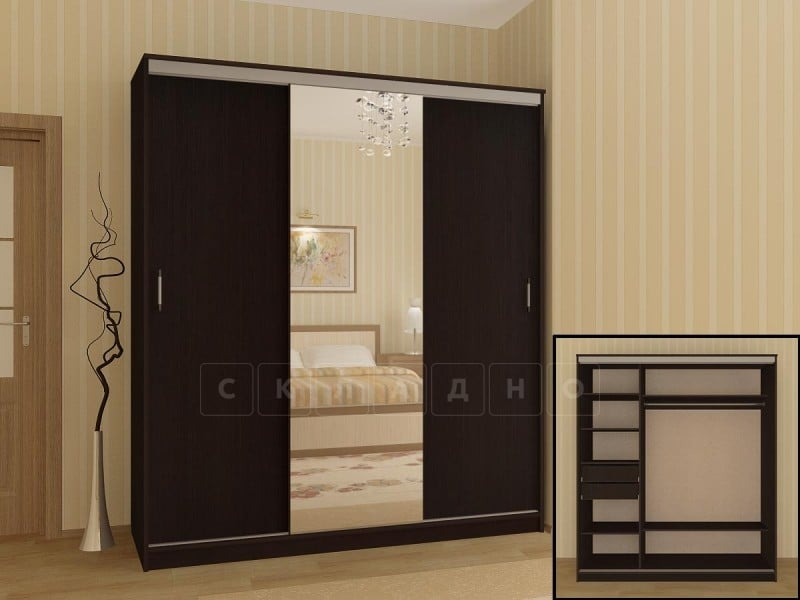 Шкаф-купе Альянс 2,0 м с одним зеркалом фото 2 | интернет-магазин Складно