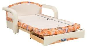 Детский диван Эдем пони оранжевый фото 2 | интернет-магазин Складно